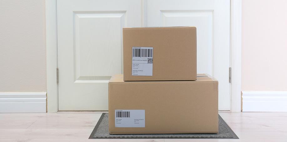 Delivered boxes on door step
